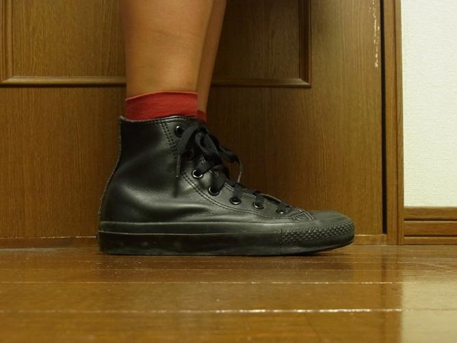 靴下屋のハイカット ナイロン靴下 赤